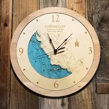 san francisco to los angeles coastline ca 3 d nautical wood clock