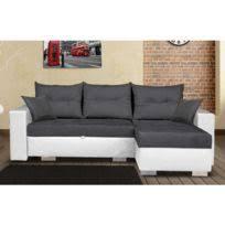 canapé angle droit en tissu savanah noir et pvc viper dya modern sofa liza angle droit avec poufs savana gris pvc blanc