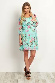 maternity dress mint floral chiffon maternity dress