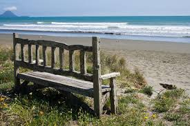 old bench on the beach royalty free stock photo image 13908345