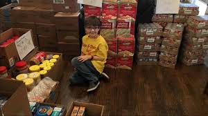 7 year boy shares his favorite foods to help needy families