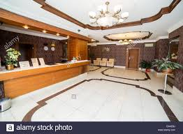 luxury lobby in hotel reception hall interior design stock photo