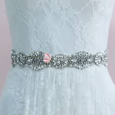 rhinestones beaded blossom motif bridal sash belt lunss couture