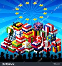 Flag People Silhouettes Many Refugees Boxes Mountain Eu Stock Vektorgrafik
