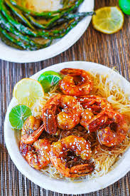 Main Dish Rice Recipes - shrimp teriyaki over rice noodles