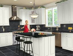elegant l shaped kitchen design with white window frame and marble