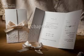 folded wedding invitations vintage embossed tri fold wedding invitation with ribbon bow set