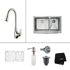 Kindred Faucet Kindred Stainless Steel Double Kitchen Sink With Faucet And Bottom