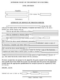 Process Server Invoice Template by District Of Columbia Affidavit Of Service By Process