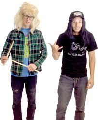 party city halloween costumes wigs amazon com wayne u0027s world garth and wayne costume set clothing