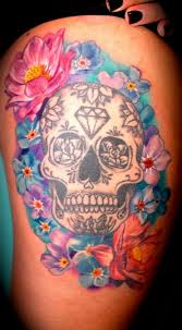 s thigh sugar skull with flowers