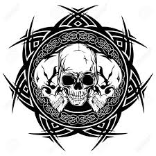 abstract vector illustration black and white skulls on