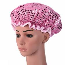 waterproof elastic satin band shower cap bathing