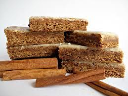 chewy cinnamon ginger lebkuchen bars with orange ginger glaze