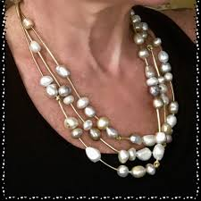 etsy necklace pearl images Etsy jewelry 22 3strand handcrafted freshwater pearl necklace jpg