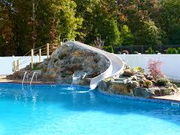 Bedroom Alluring Inground Pool Slides Waterfalls For Pools