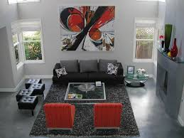 Rugs With Red Accents Ideas Basement Design With Gray Stained Concrete Floors And Area