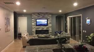 stone wall fireplace how to build an electric fireplace tv combo stone wall youtube