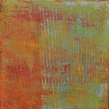 Earthy Orange Original Abstract Acrylic Painting Red Yellow Orange Rust Blue