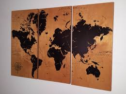Vintage World Map Canvas by Vintage World Map Screen Print Wood Painting Wall Art On