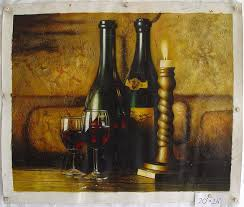 wine bottles bottles original painting 20 x 30