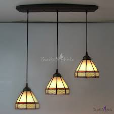 tiffany glass pendant lights long base geometric pattern 24 inch three light hanging pendant