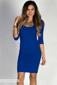 blue bodycon dress royal blue 3 4 sleeve and casual bodycon dress