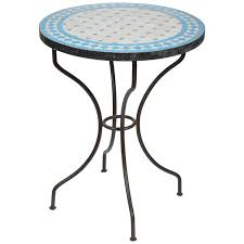 Tile Bistro Table Moroccan Mosaic Blue Tile Bistro Table On Iron Base For Sale At