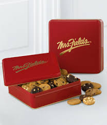 mrs fields gift baskets mrs fields classic tin with nibblers at from you flowers