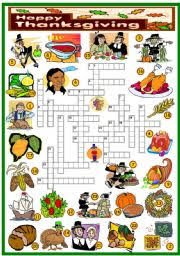 thanksgiving crossword key and b w version included