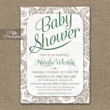 gender neutral baby shower invitations green white lace nifty