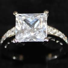 zirconia stone rings images Princess cut diamond promise ring white cubic zirconia large jpg