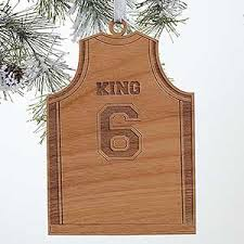 personalized sports ornaments basketball jersey wood