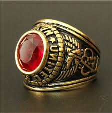 fashion golden rings images 3pcs golden ring with red stone titanium steel king ring 316l jpg
