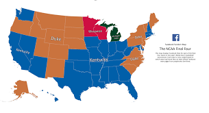 Map Of The Las Vegas Strip Hotels 2015 by These Maps Show Which Final 4 Teams Each State Is Talking About