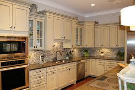 Stone Backsplashes For Kitchens White Wooden Kitchen Cabinet With Brown Countertop Also Grey Stone