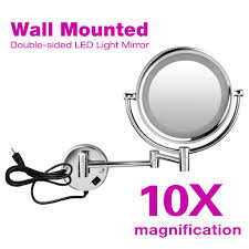 Lighted Wall Mount Vanity Mirror 7x 10x Magnifying Wall Mounted Stand Foldable Led Lighted Makeup