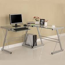 walker edison 3 piece contemporary desk silver with clear glass d51l29