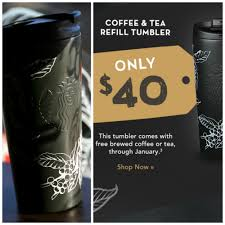 the starbucks january refill tumbler available now for january