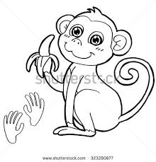 vector illustration cartoon monkey coloring book stock vector