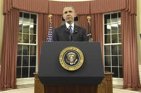why was president obama standing during his oval office address
