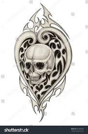 skull heart tattoo hand pencil drawing stock illustration