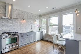 brick tile backsplash kitchen gray kitchen cabinets with marble mini brick tile backsplash