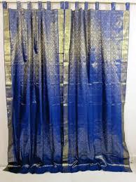 Blue And Gold Curtains Sari Curtains India 2 Royal Blue Blue Gold Brocade Silk Sari Saree