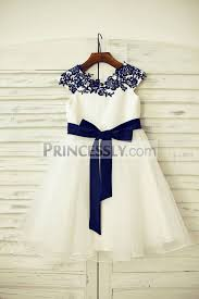 flower girl dresses navy blue lace ivory satin organza flower girl dress with navy sash