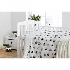 paw print sheets monochrome pawprint cot bedding lola s nursery toys soft