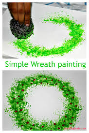 we made this christmas wreath painting using the stainless steel