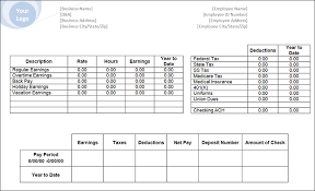 Check Stub Template For Excel Business Pay Stub Logo Templates Blank Pay Stub Template Selimtd