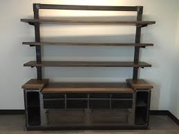 credenza unit crafted modern industrial office credenza and shelving unit