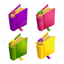 different color purples set of cartoon different color book isolated elements for game